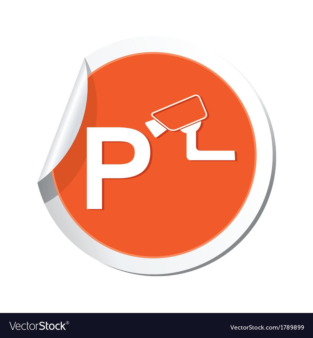 Parking under supervizion icon orange sticker vector | Price: 1 Credit (USD $1)