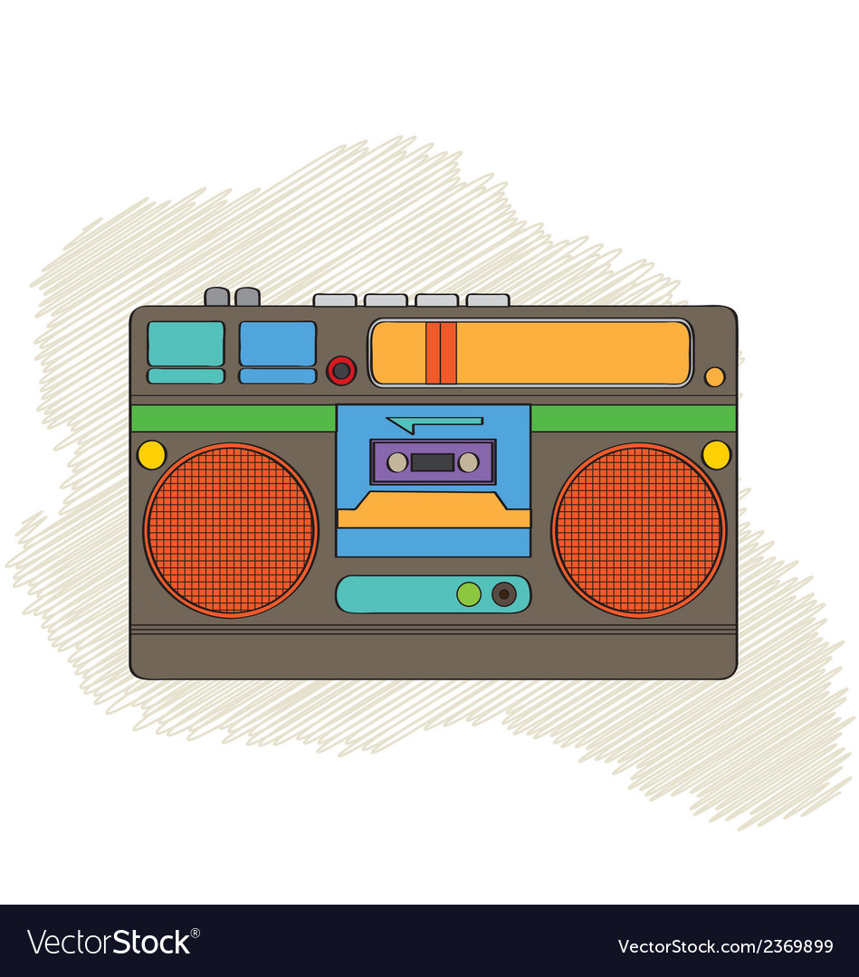 Vintage boom-box vector | Price: 1 Credit (USD $1)
