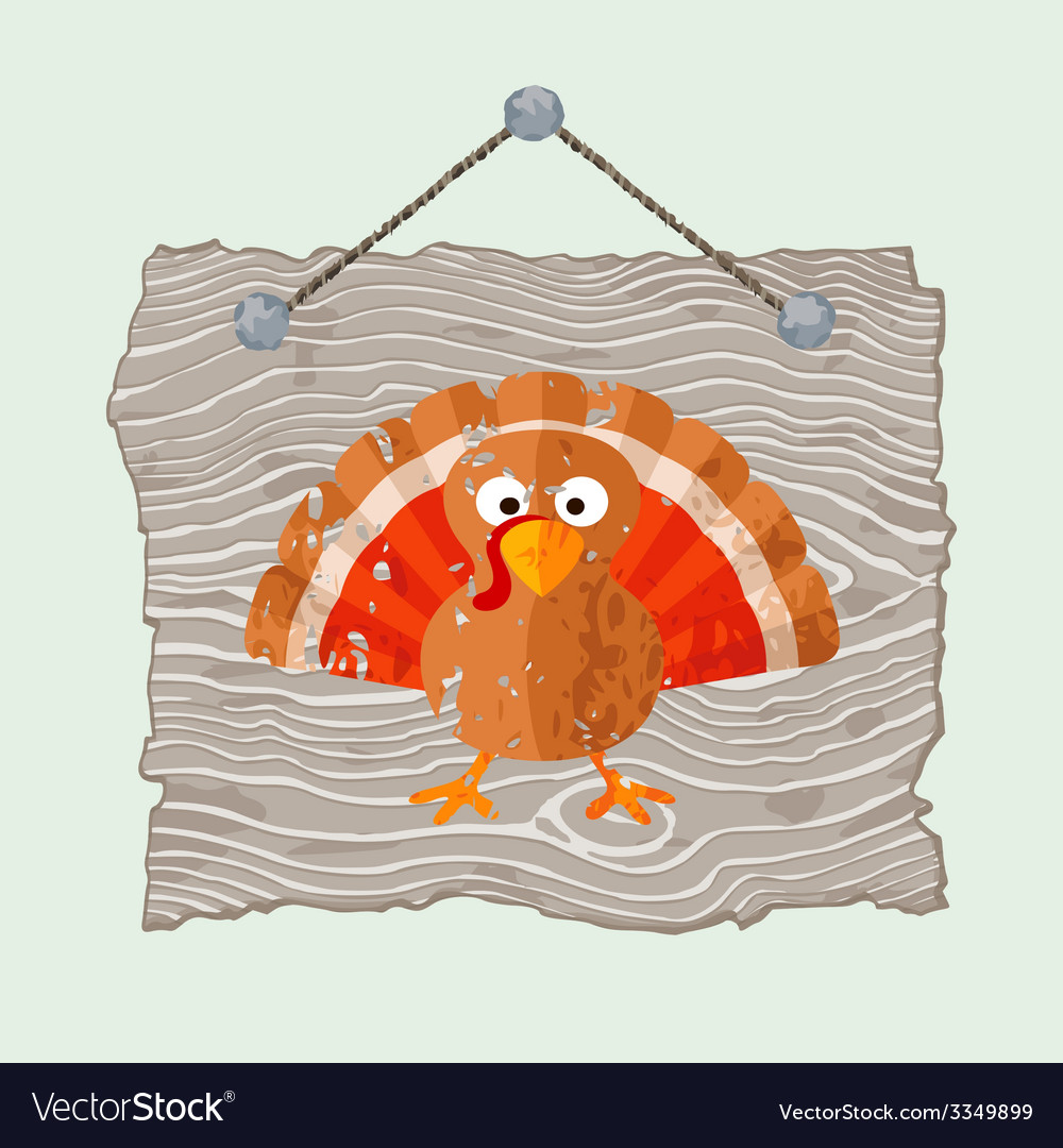 Wooden sign with turkey vector | Price: 1 Credit (USD $1)