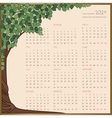 Tree frame calendar 1 page 2014 vector