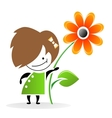 Girl with flower eps vector