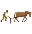 Plowman and horse with plow vector