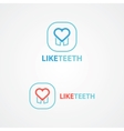 Logo combination of a tooth and heart vector
