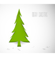 Simple christmas tree cut out from white paper vector
