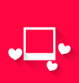 Blank photo frame with hearts for valentine day - vector