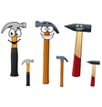Cartoon hammers with smiling face vector