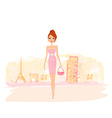 Beautiful women shopping in france and italy vector