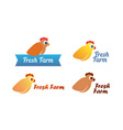 Set of emblem with chicken vector