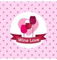 Wine shop or bar logo design with hearts vector