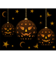 Lanterns with halloween faces vector