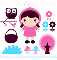 Red riding hood design elements set vector