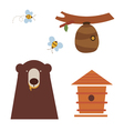 Bear and honey icons vector