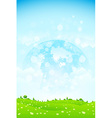 Green background with grass trees clouds and plane vector