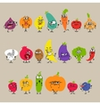 Cartoon fruits and vegetables with facial vector
