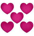 Five pink hearts with patterns vector
