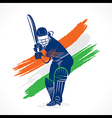 Abstract cricket player design by brush stroke vector