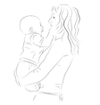 Mother and her baby sketch vector