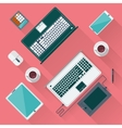 Office desk with laptop tablet smartphone vector