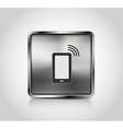 Metal icon smartphone wireless connection vector