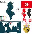 Tunisia map world vector