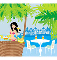 Beautiful young woman at the summer lounge vector