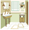 Retro washroom interior vector
