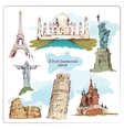 World landmark sketch colored vector