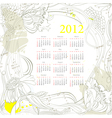 Calendar for 2012 on grunge background vector