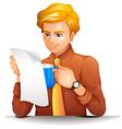 A man reading while holding a blue mug vector