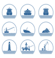 Silhouettes of ships and marine structures vector