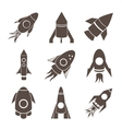 Rockets icons set on white background vector