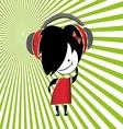 Girls listening music vector