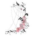 Roses and spiderweb vector
