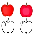 Set of red apples apples for coloring book vector