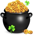 Black pot of leprechauns gold with clovers vector