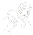Mother and newborn sketch vector