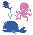 Ocean animals cartoon characters vector