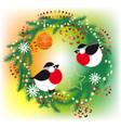Bullfinch christmas wreath vector