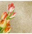 Red tulips against retro polka dot eps 10 vector