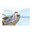 Busines man sitting in boat and sailing on river vector