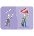 Businessman with case and graph vector