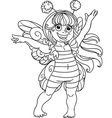Small girl in carnival suit bee black outline vector