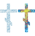 Orthodox ornamented cross for easter holiday vector