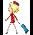 An air hostess with a trolley vector