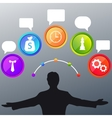 Business man and colorful bubble icon vector