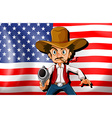 A cowboy in front of the usa flag vector