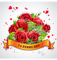 Greeting card happy valentines day with red roses vector