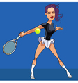 Cartoon girl in a short skirt playing tennis vector