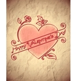 Crumpled vintage valentines day card with heart vector