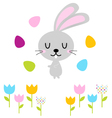 Cute easter bunny with eggs isolated on white vector
